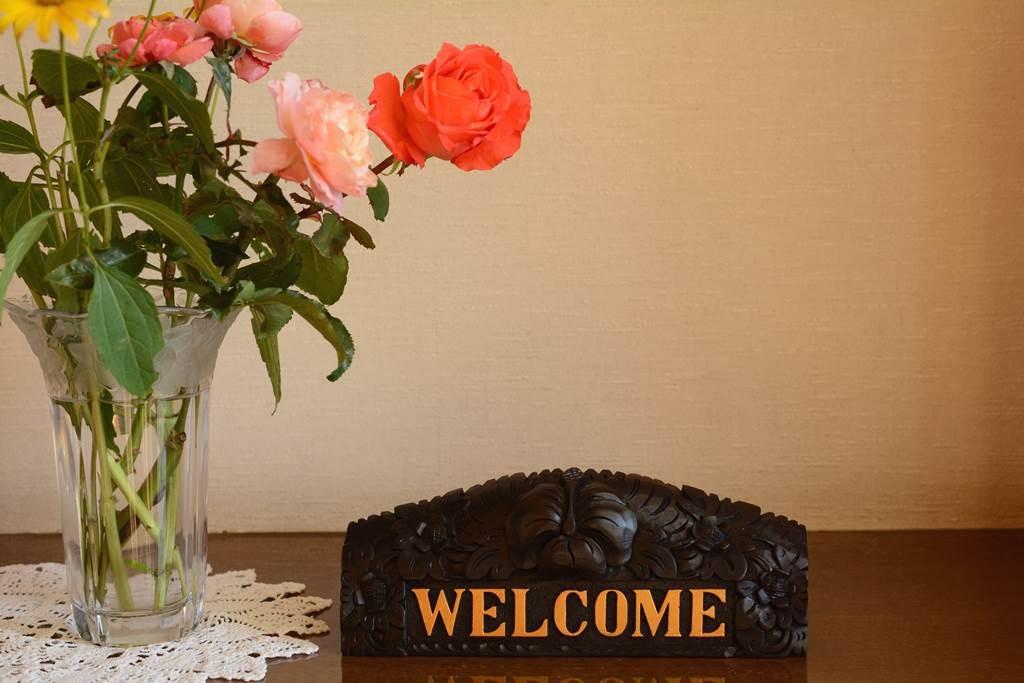 お花と会う、バリ風の卓上welcomeボード