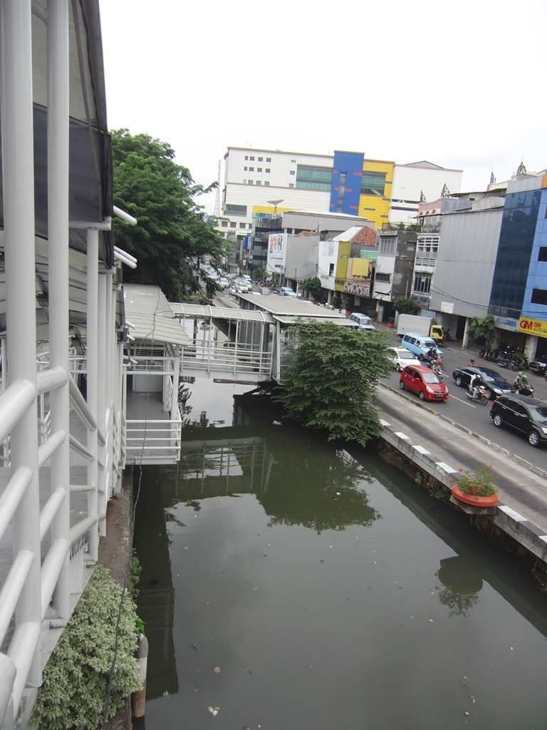 ジャカルタのバスレーンの高架歩道